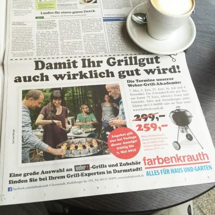 """Anzeige """"Grill gut"""". Farbenkrauth Baumarkt"""